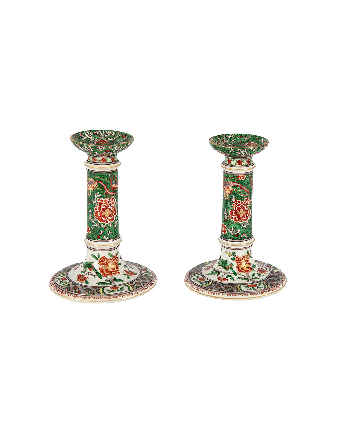 "Pair of ""Kakiemon"" candlesticks. XIXth century"