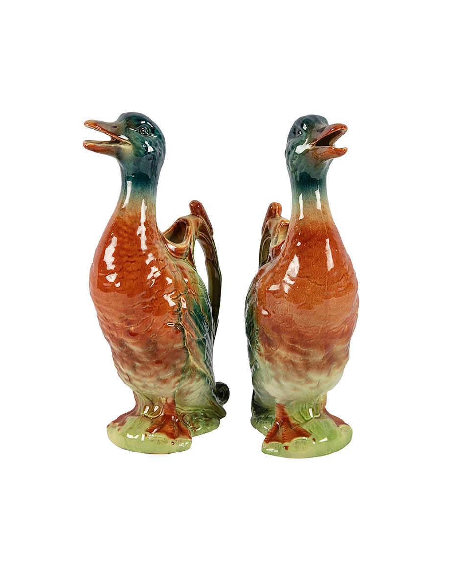 Pair of duck-shaped water jugs. France
