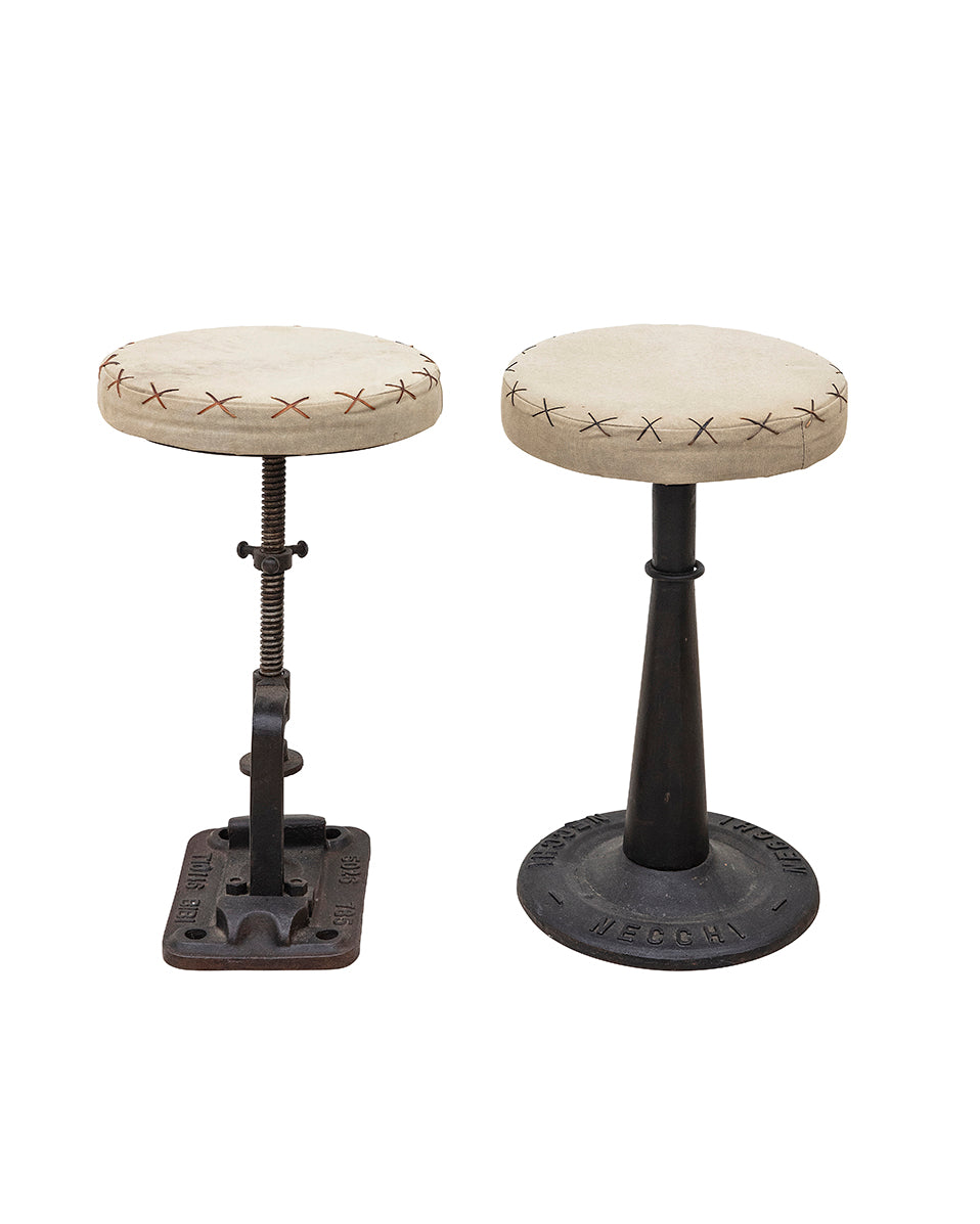 Pair of leather stools with industrial legs. XIXth century