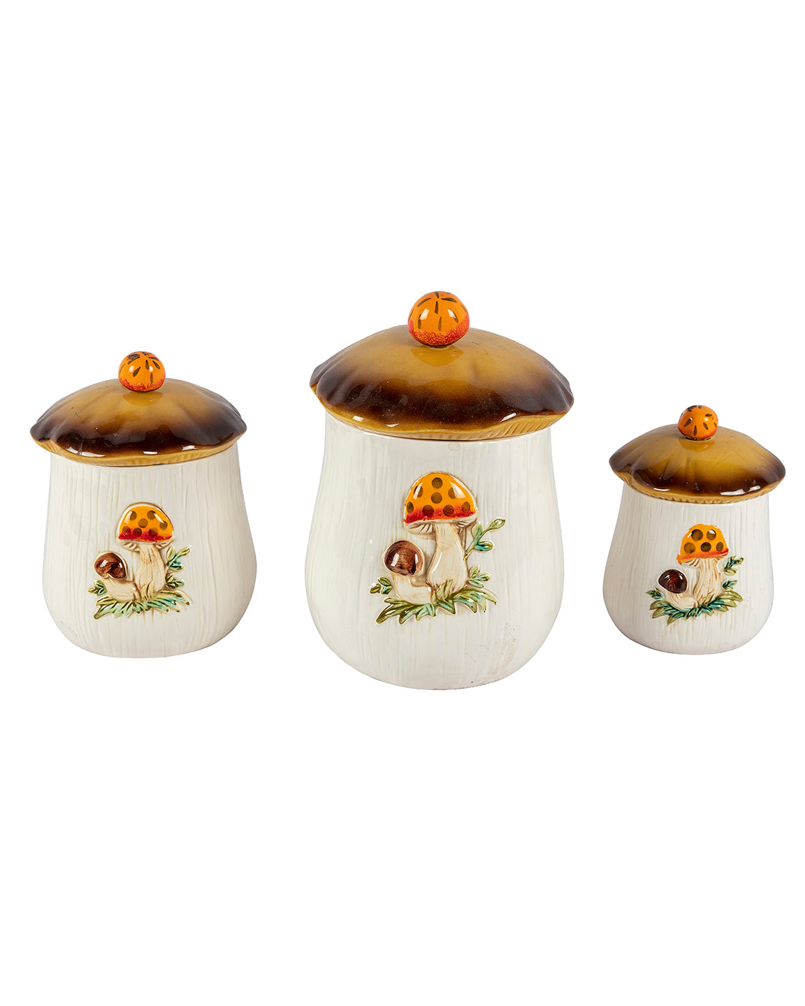 Mushroom themed set of ceramic jars