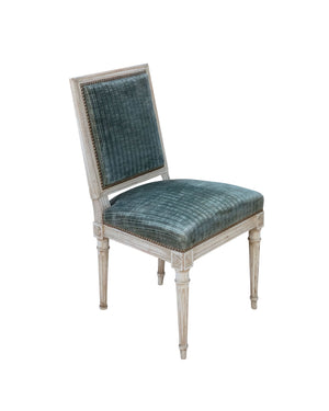 Set of twelve chairs in white lacquer and original Rubelli upholstery. Louis XVI's style. France. XVIIIth Century