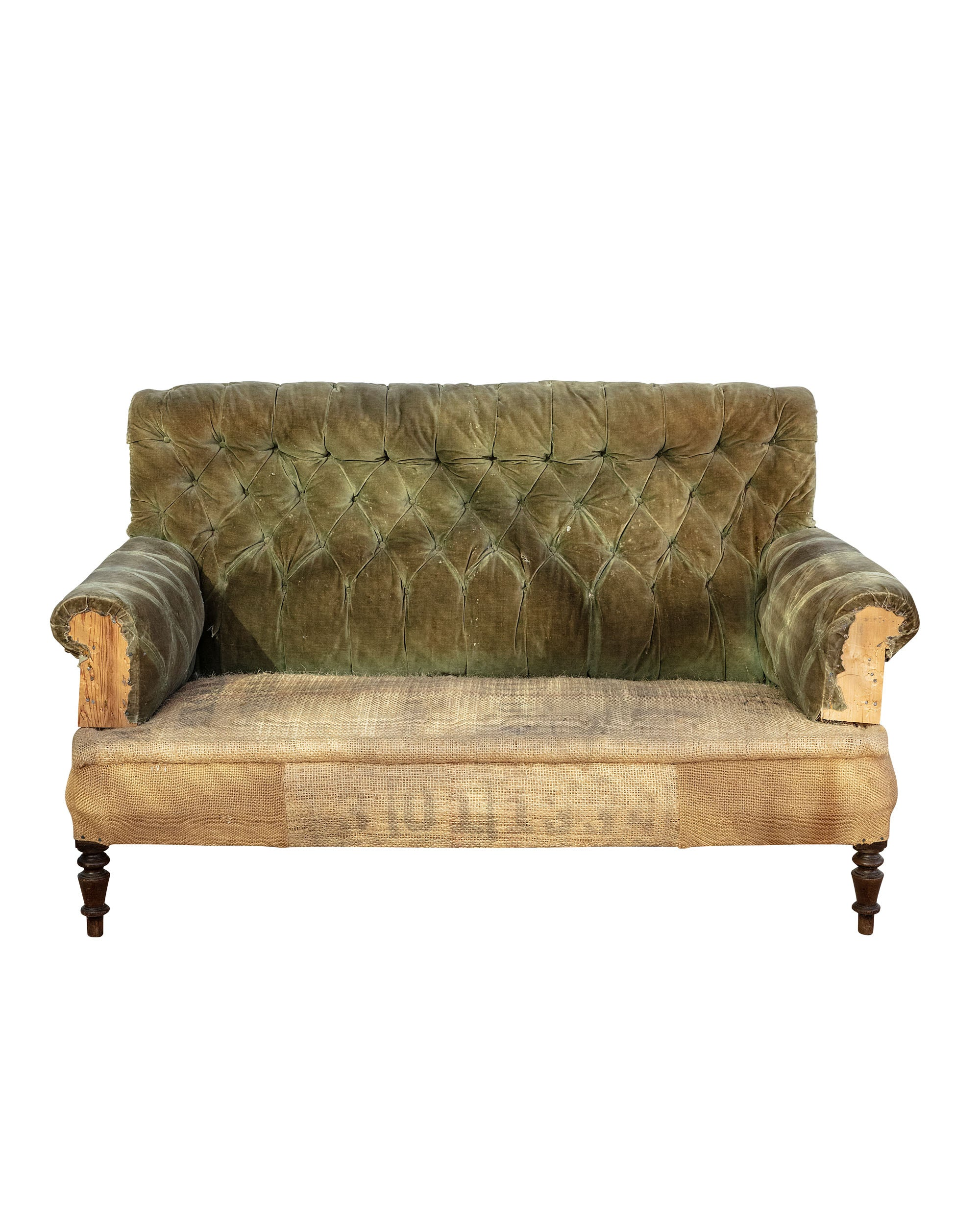 Sofa with green velvet backrest and hessian seat with wooden structure