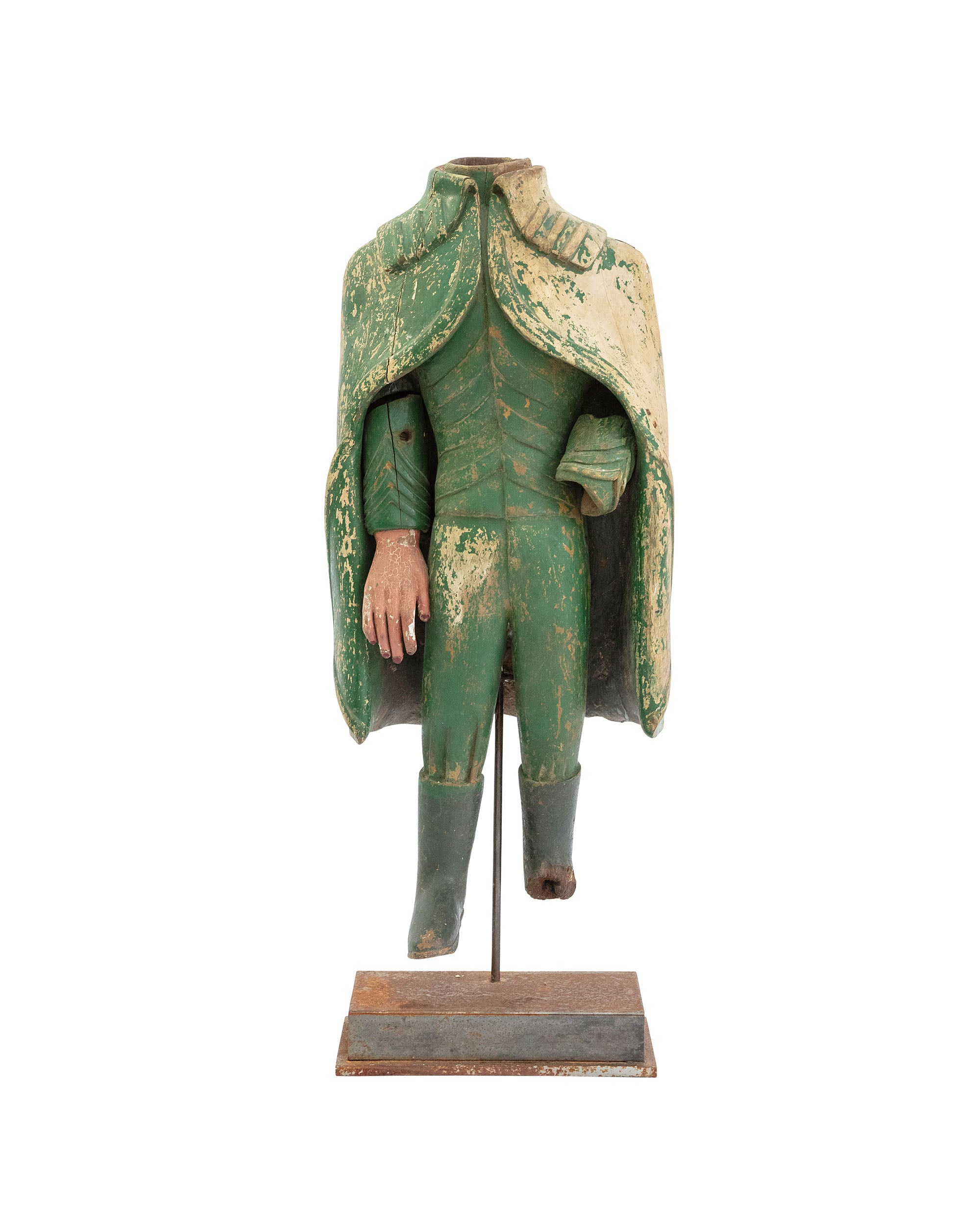 Soldier's body statue with a wooden layer on stand
