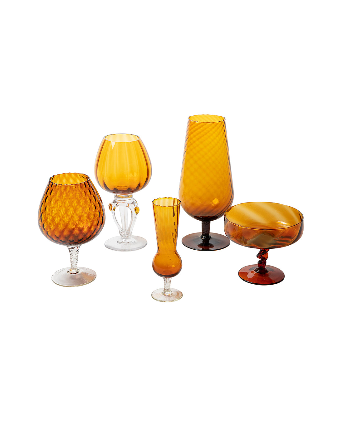 Set of five amber colored vases and cups made of glass