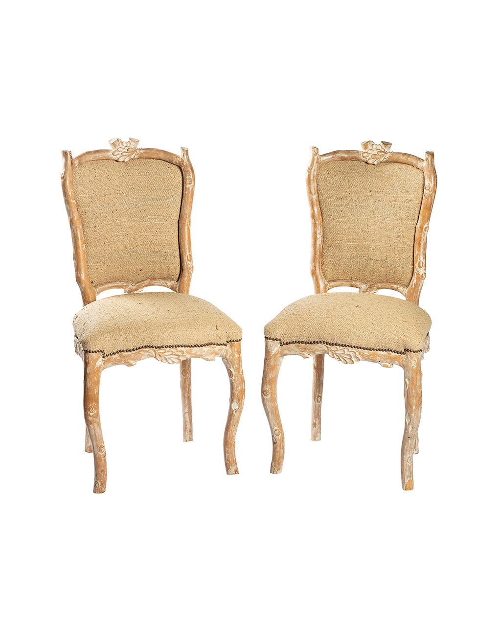 Set of six chairs in silk by Billy Baldwin. Beginning of the XXth century