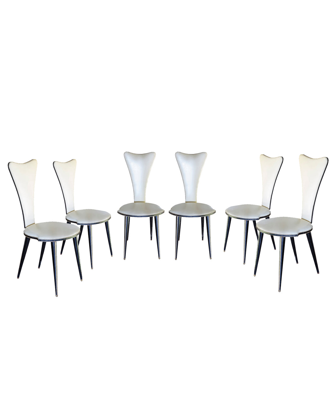 Set of six mid-century chairs. Italy. 1950