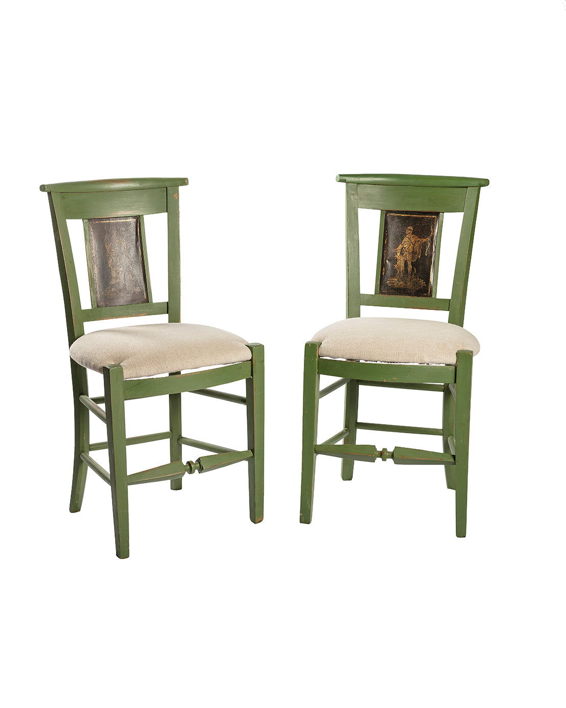 Set of six Empire style green chairs