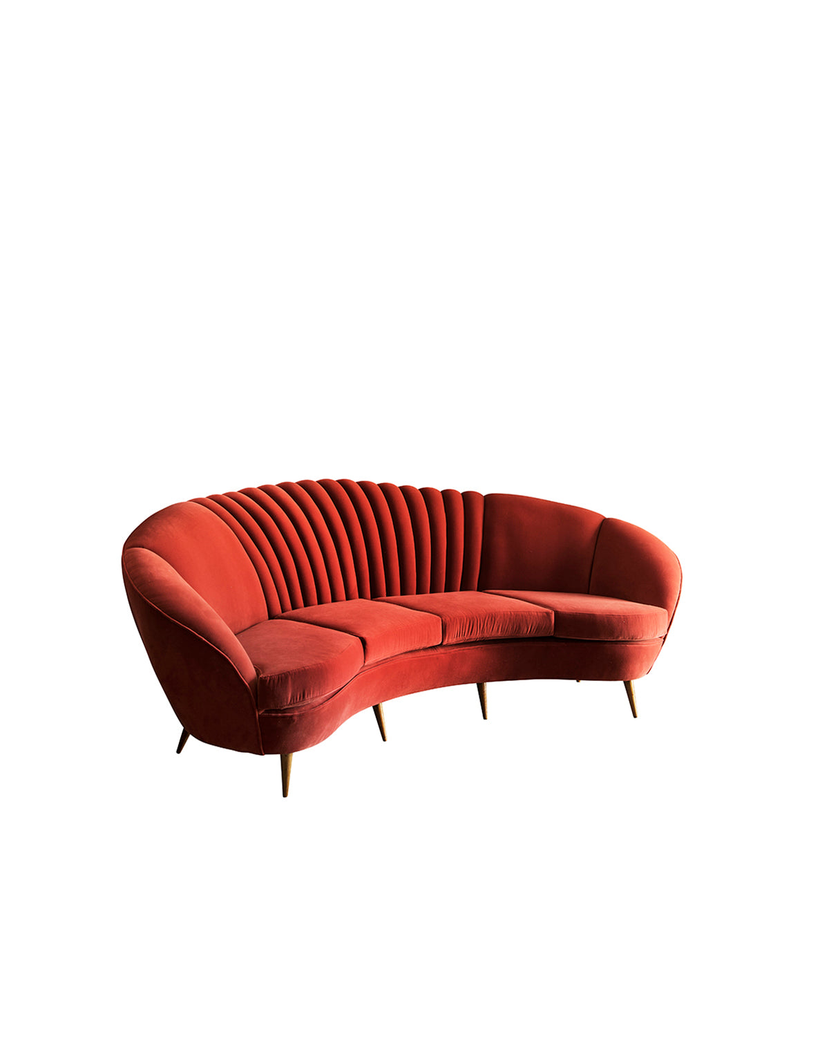 Sofa in red velvet. Italy, 1950s