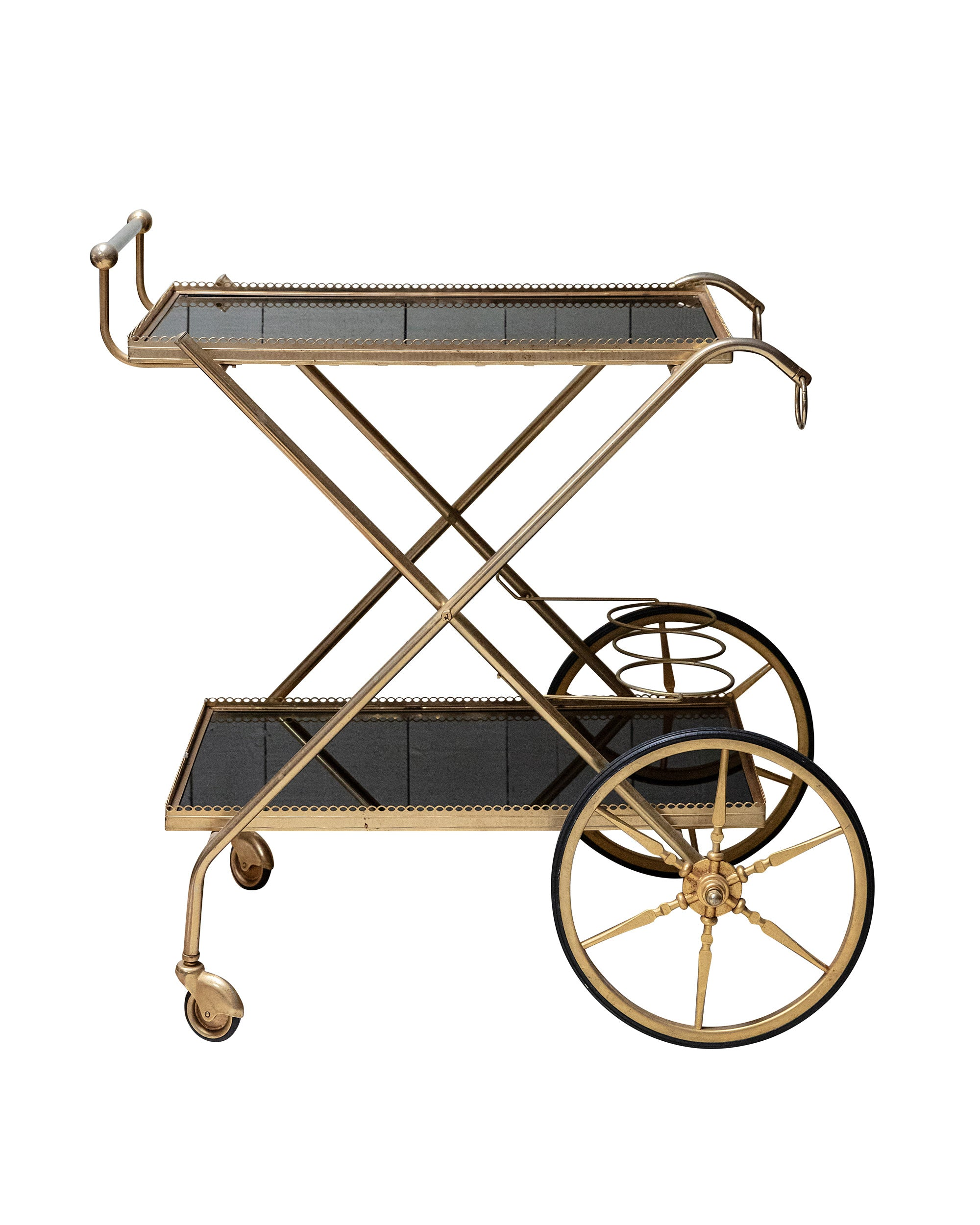 Brass and black glass trolley. 1960