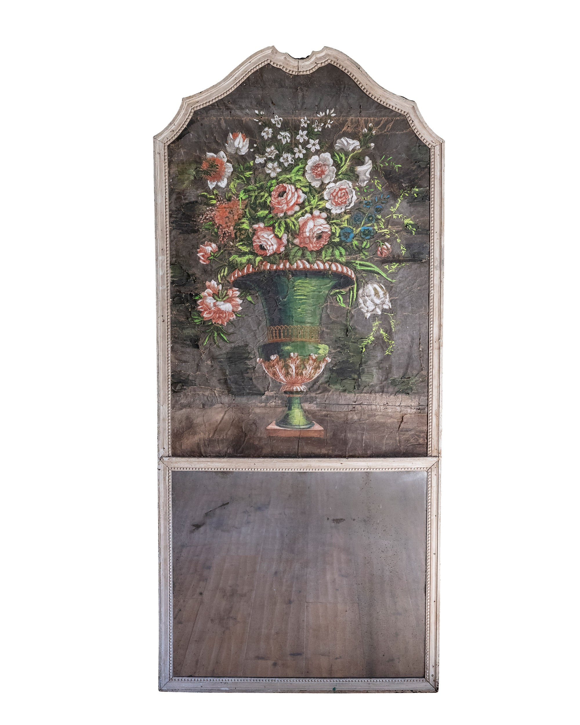 "Fireplace ""Trumeau"" with original mirror and painting on fabric representing a vase of flowers. France. XIXth century"