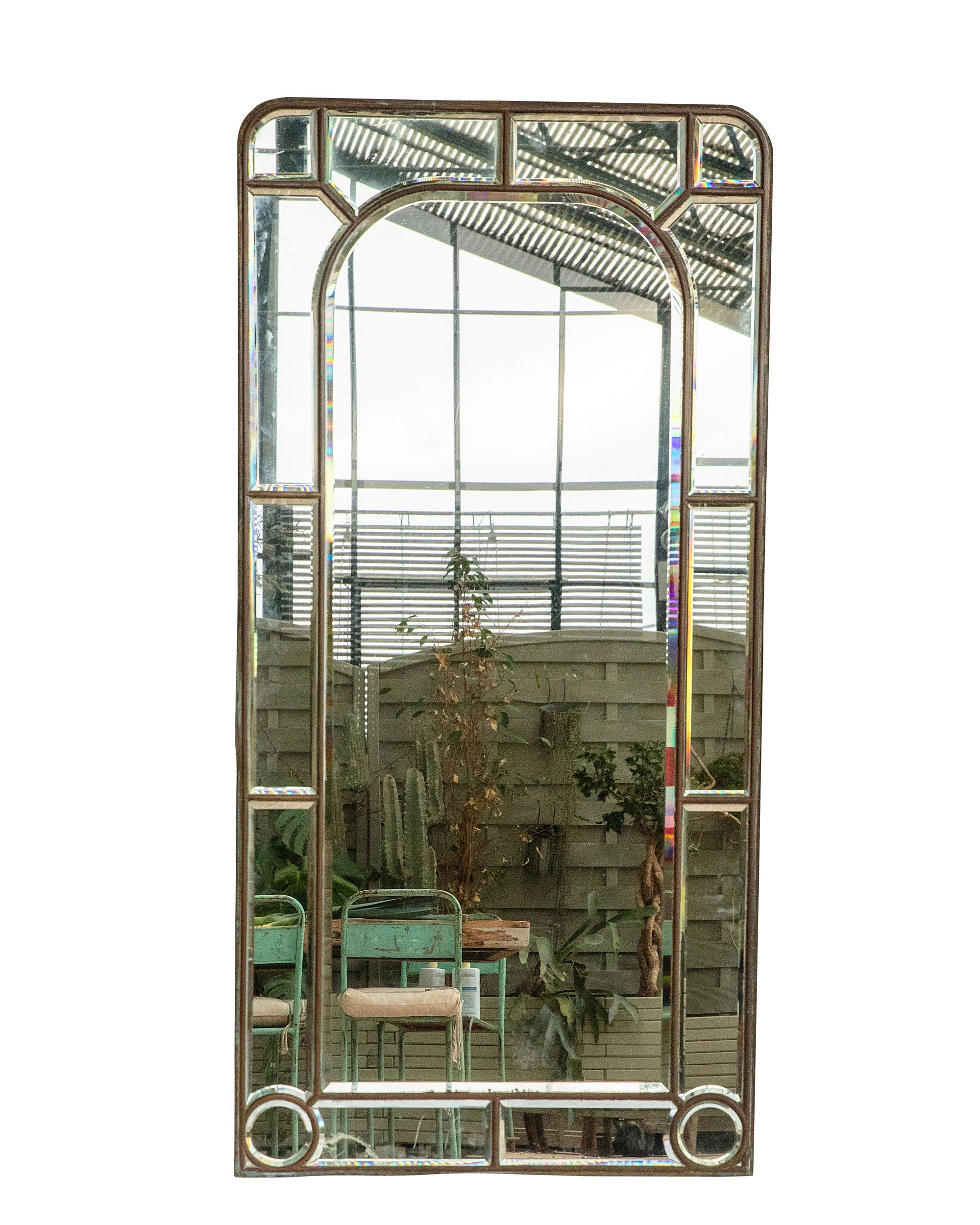 Beveled mirror with brass and zinc back