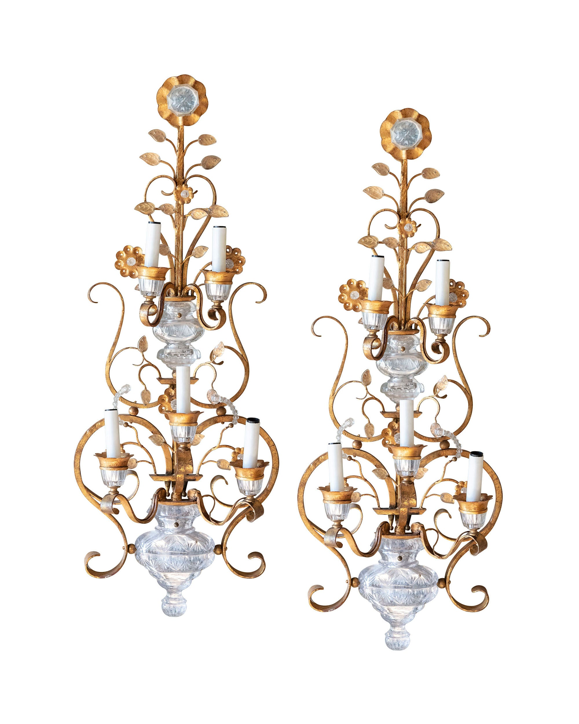 Pair of golden metal wall lights with crystals and five light holders