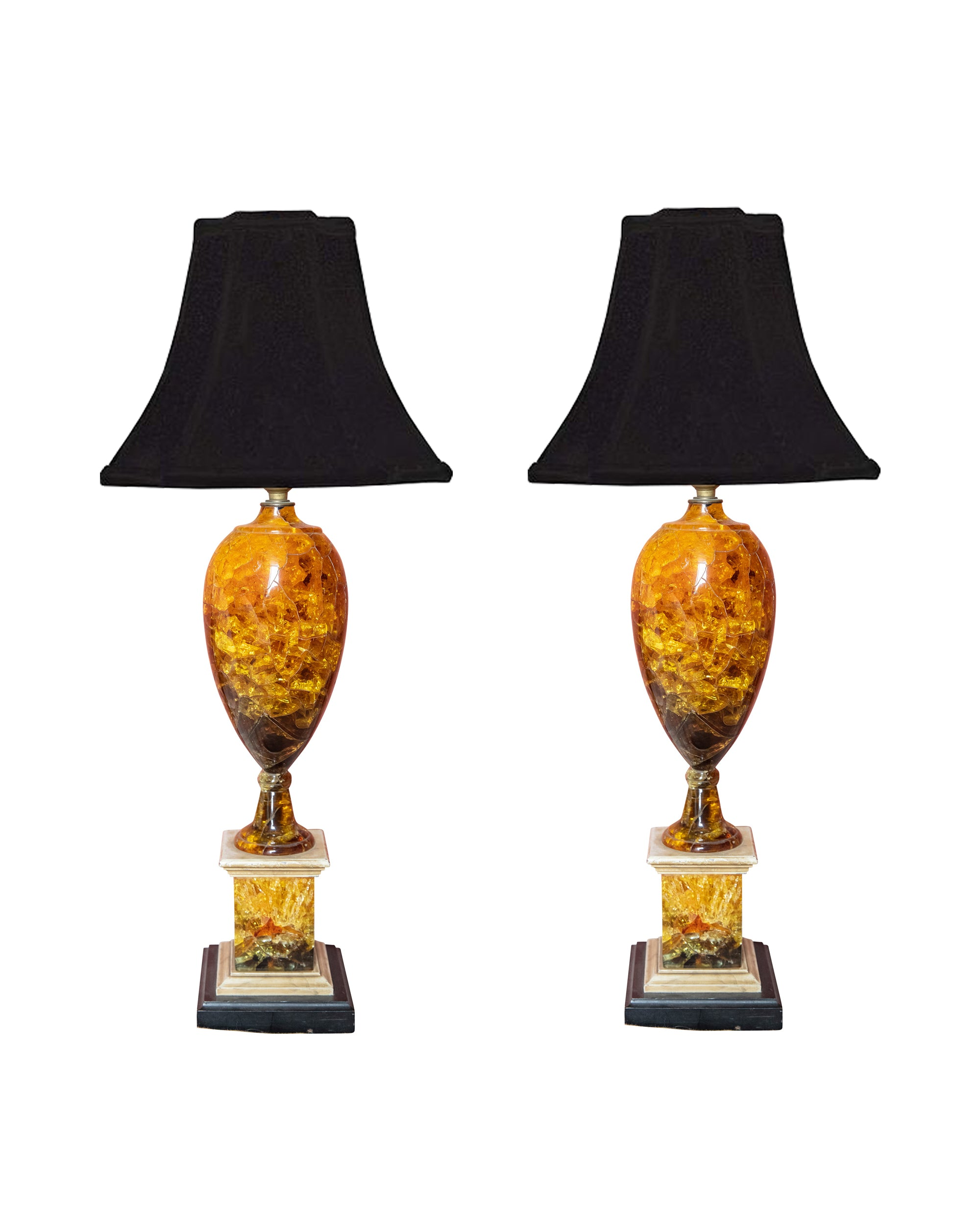Pair of lamps made with amber-colored fractal resin. France. 1970s