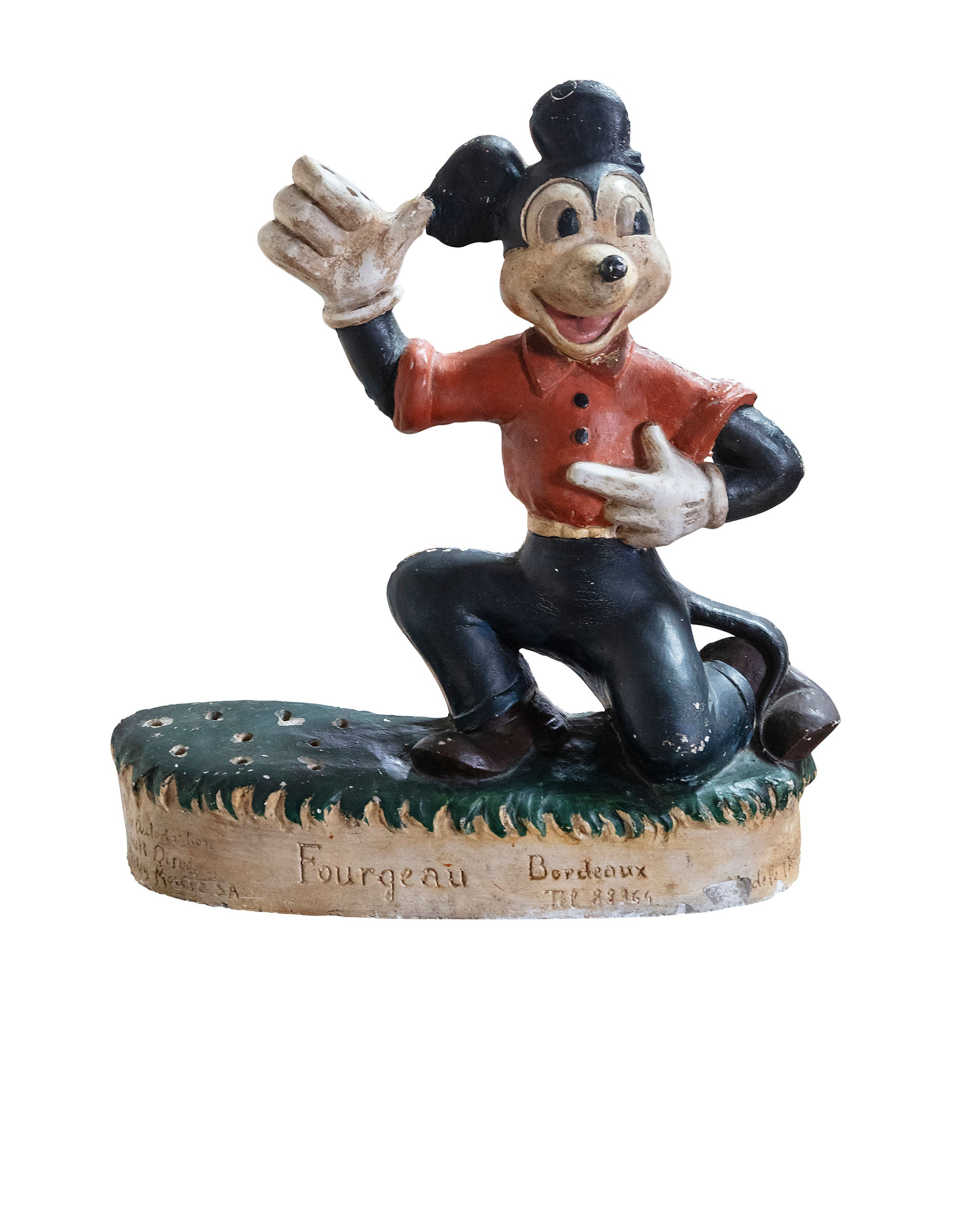 Mickey Mouse statue made of plaster to display lollipops. Year 1930/1940