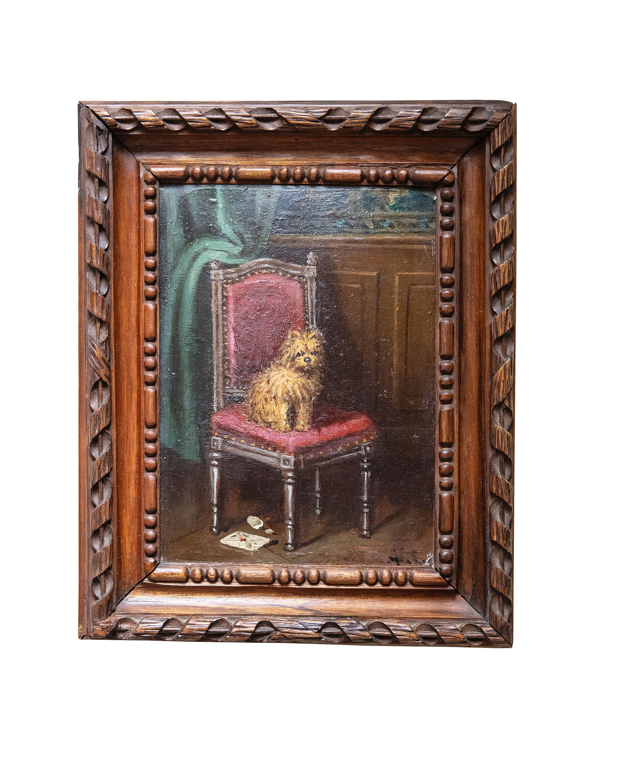 "Oil painting on cardboard ""Chien sur une chaise"" with hand-carved wooden frame. XIX century"