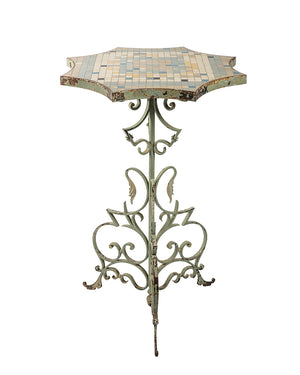 Iron pedestal table with a ceramic mosaic tabletop