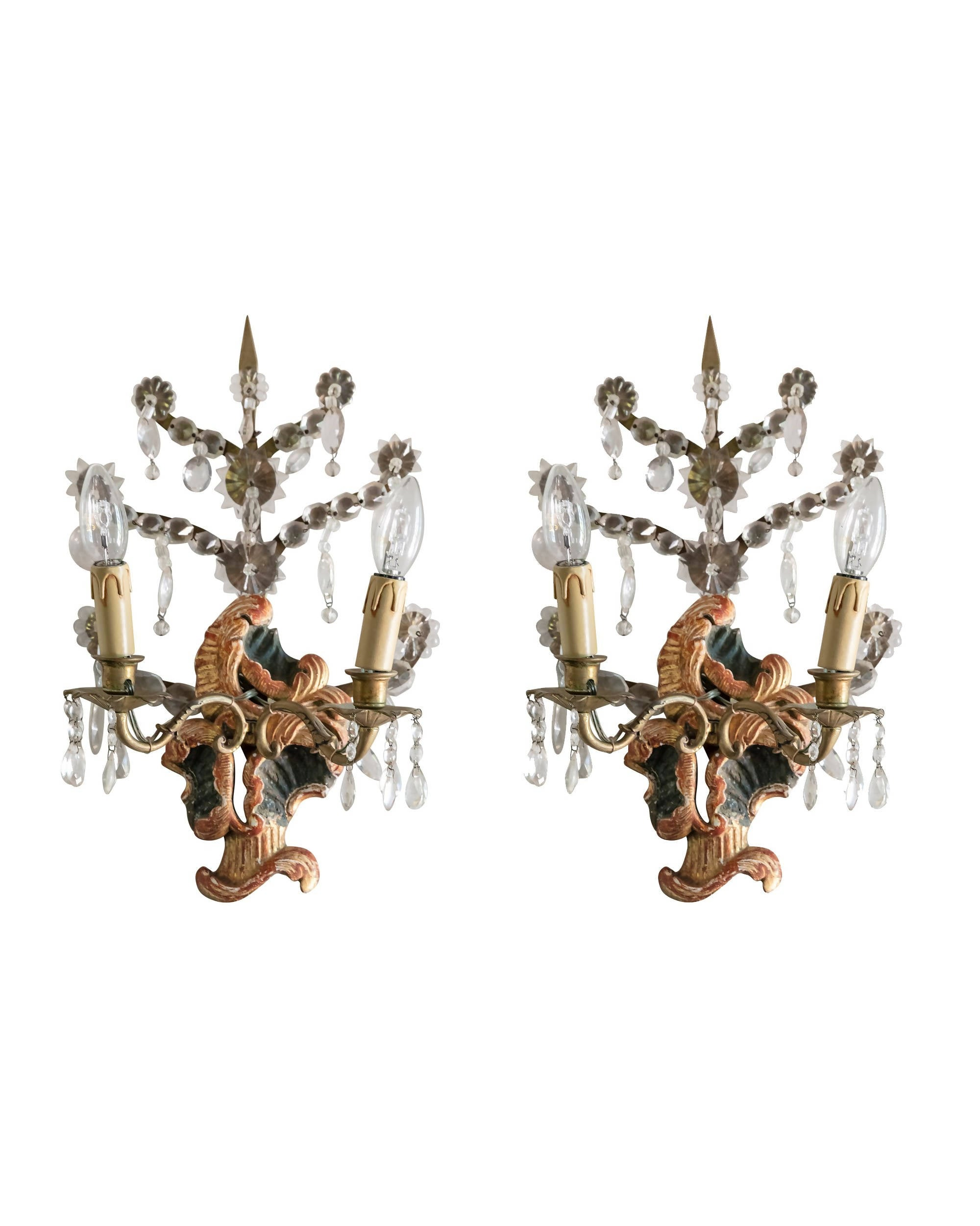 Pair of sconces in polychrome wood and crystals. Italy. XVIIIth century