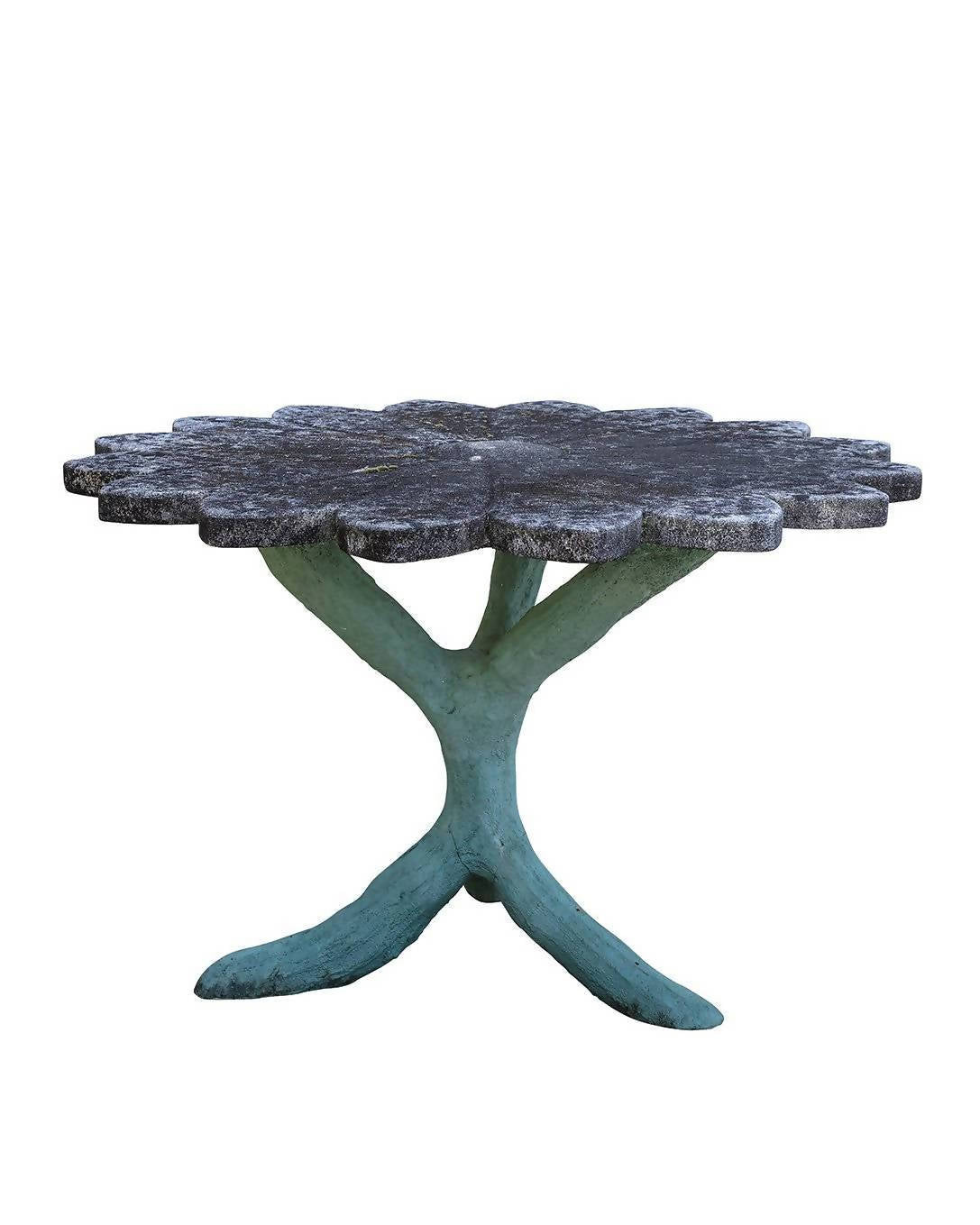 Flower-shaped stone table