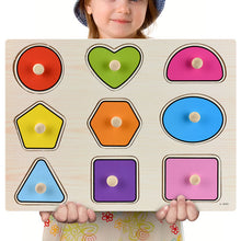 Load image into Gallery viewer, Montessori Wooden Puzzles Hand Grab Boards Toys Tangram Jigsaw Baby Educational Toys Cartoon Vehicle Animals Fruits 3D Puzzles