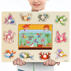 Montessori Wooden Puzzles Hand Grab Boards Toys Tangram Jigsaw Baby Educational Toys Cartoon Vehicle Animals Fruits 3D Puzzles
