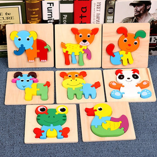 Large particles Kids Toy Wood Puzzle Wooden 3D Puzzle Jigsaw for Children Baby Cartoon Animal/Traffic Puzzles Educational Toys