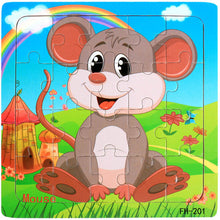 Load image into Gallery viewer, Wooden Puzzles Toys 20Pcs Kids Joy Superior Quality Puzzle Wood Cartoon Animals Jigsaw Puzzles Educational Toys For Children