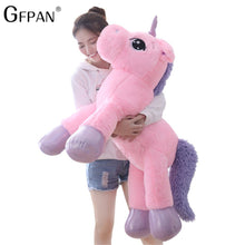 Load image into Gallery viewer, Giant 110/60cm Unicorn Plush Toy Soft Stuffed Popular Cartoon Unicorn Doll Animal Horse Toy High Quality Toys for Children Girls