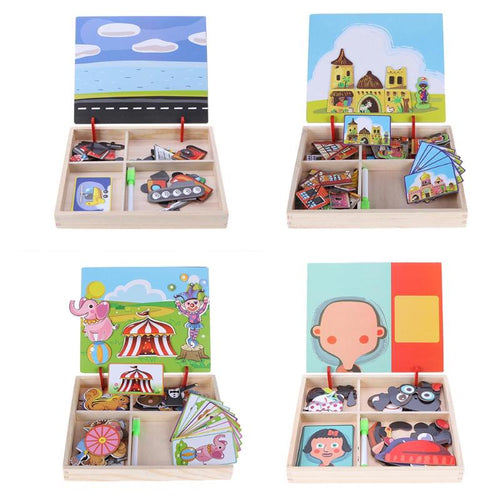 3D Wooden Kids Educational Pretend Play Learning Toys Magnetic Puzzle Wood Toy Wooden Puzzles For Kids Wooden Puzzles Game Gift