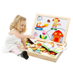 Wooden Toys Magnetic Drawing Board Puzzle Toys Children 3D Puzzle Drawing Board Children Learning Educational  Wooden Toy100+pcs