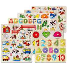 Load image into Gallery viewer, High quality 30CM animal digital letter hand grab board 3D puzzle Invigorating baby wooden toy