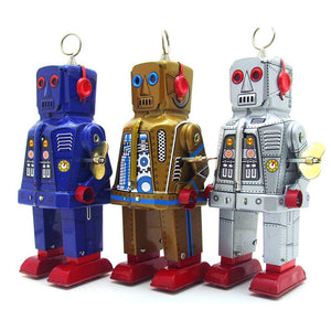 MUQGEW Classic Toy Children Adluts Model Toy Tinplate Nostalgic Clockwork Chain Toy Nostalgic Robot Ms403 Photography Props Wy6
