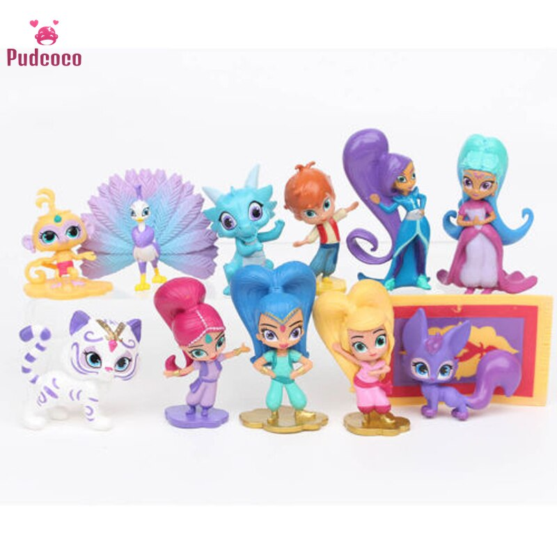 Pudcoco Brand Garage Kit Baby Kids Shimmer Children Shine 12 PCS Action Figure Toy Popular Bebe Gift