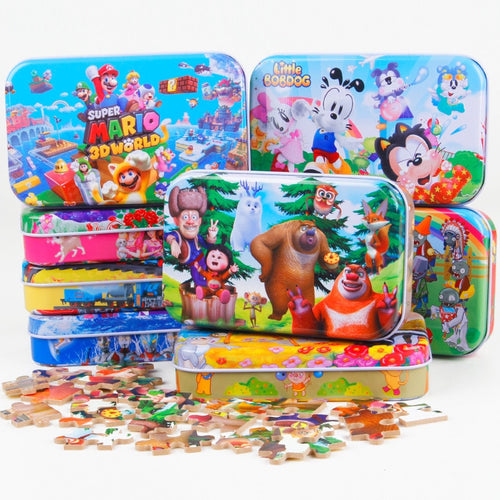 60pcs/set Wooden Puzzle Cartoon Toy 3D Wood Puzzle Iron Box Package Jigsaw Puzzle for Children Early Educational Montessori Toys