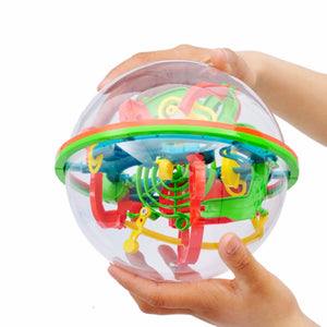 100 Step 3D puzzle Ball Magic Intellect Ball Labyrinth Sphere Globe Toys Challenging Barriers Game Brain Tester Balance Training