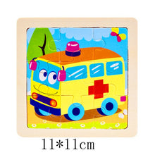 Load image into Gallery viewer, Kids Wooden 3D Puzzle Jigsaw Toys For Children Cartoon Animal Vehicle Wood Puzzles Intelligence Kids Baby Early Educational Toy