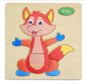 Kids Wooden 3D Puzzle Jigsaw Toys For Children Cartoon Animal Vehicle Wood Puzzles Intelligence Kids Baby Early Educational Toy