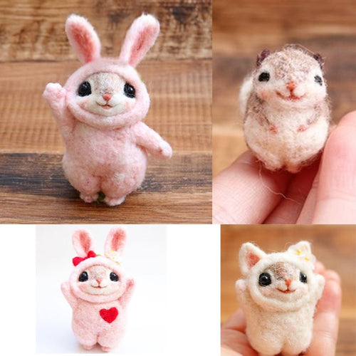 2019 Creative Popular Cute Pets Mouse Rabbit Squirrel Wool Felting Toy Doll Wool Felt Poked Kitting DIY Package Non-Finished