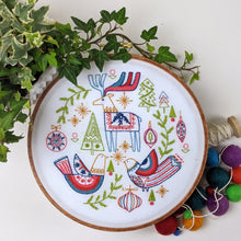 Load image into Gallery viewer, Holiday Folk Pre-printed Fabric Embroidery Pattern