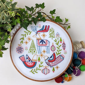 Holiday Folk Pre-printed Fabric Embroidery Pattern