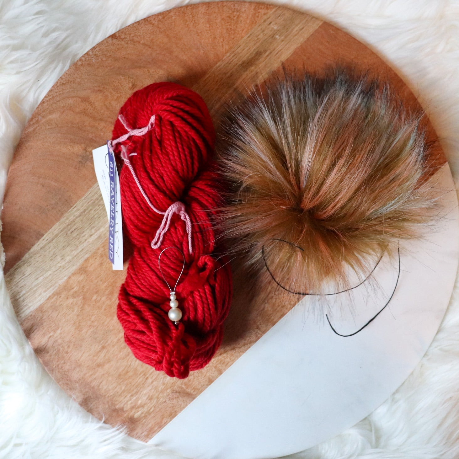 Ravelry Red Chunky and Pom Kit