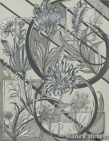 pen, ink line drawing with Tangle-Inspired Botanical theme by Sharla R. Hicks