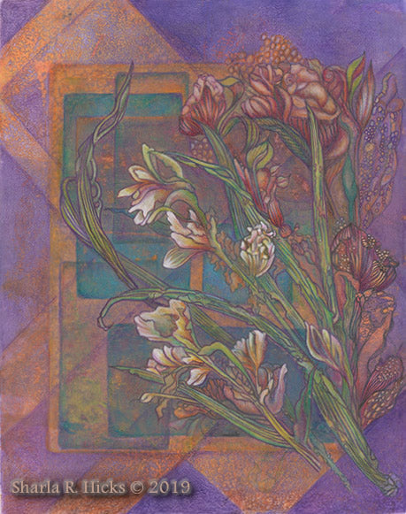Violet & Orange. Artwork by Sharla R. Hicks, mixed media
