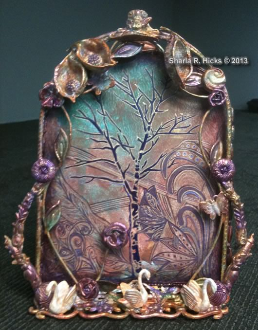 "The Tree, 2013, 10x12"", Artist: Sharla R. Hicks, Assemblage and Zentangle."