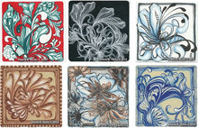 Load image into Gallery viewer, workshop example of a tangle-inspired botanicals on different background and pen color choices by Sharla R. Hicks