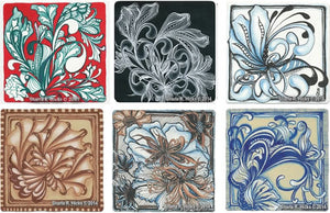 workshop example of a tangle-inspired botanicals on different background and pen color choices by Sharla R. Hicks