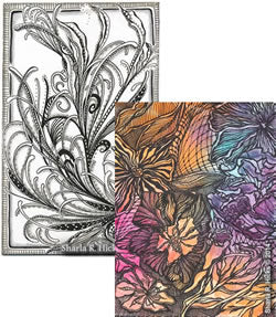 Mixed media backgrounds and gelly roll pens are the inspiration behind these two Artworks by Sharla R. Hicks, artist, CZT