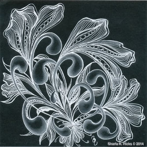 White Ink, multiple tangles and shading combine to create this Artwork by Sharla R. Hicks, artist, CZT