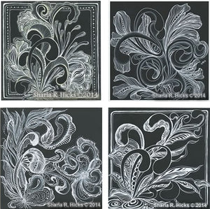 Sharla R. Hicks uses Zentangle patterns, white pen, and black backgrounds in the tangle-inspired botanicals and expressive line workshop