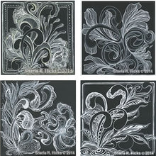 Load image into Gallery viewer, Sharla R. Hicks uses Zentangle patterns, white pen, and black backgrounds in the tangle-inspired botanicals and expressive line workshop