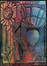 wworkshop example that uses monoprint as inspiration for tangle-inspired work by Sharla R. Hicks, CZT and author